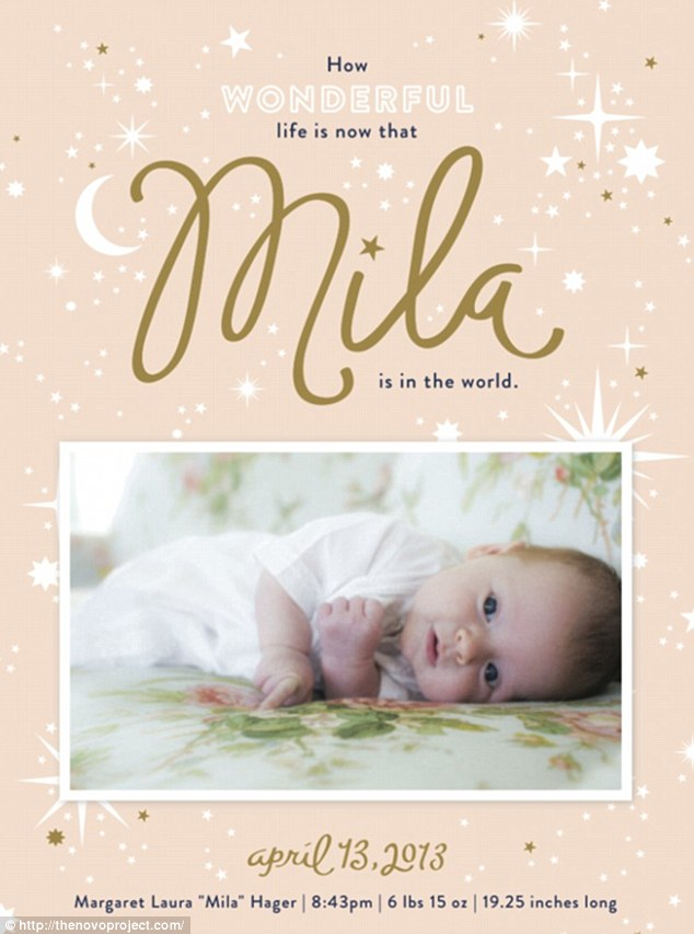 Birth announcement: The card, made by Minneapolis-based MaeMae Paperie, took inspiration from the beloved bedtime book Goodnight Moon and featured Mila's name in embossed gold