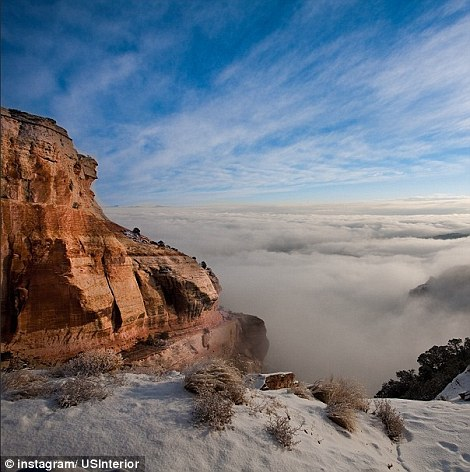 Colorado: Early morning fog at the Colorado National Monument