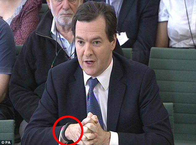 Health: George Osborne wearing his tracker (ringed) which he uses to help his sleep pattern and exercise regime