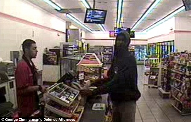 Footage: CCTV footage shows Trayvon buying Skittles and a soda at a 7/11