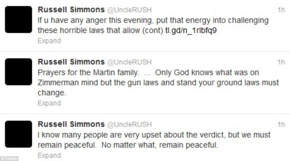Music mogul Russell Simmons took to Twitter after the trail asking angry reactors to remain peaceful despite what they were feeling