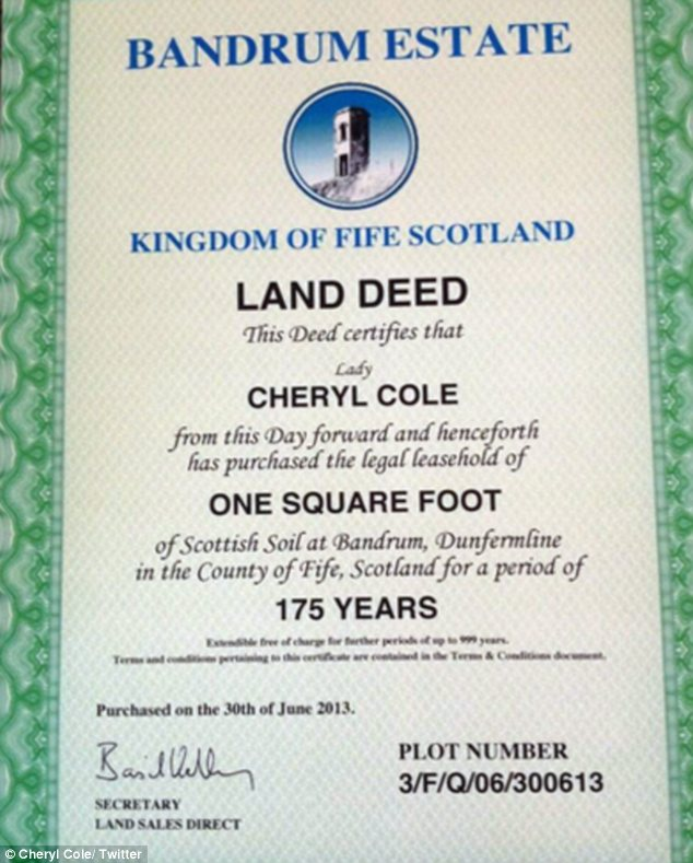 Nice gesture: Simon bought Cheryl a piece of land for her birthday which means she now has a title