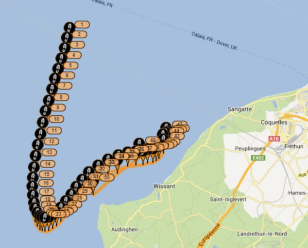 An online map tracking Ms Taylor's progress appeared to show that her support boat had suddenly sped up and sailed in a different direction towards land