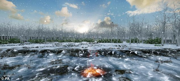 This is an artist's impression from the University of Birmingham of a fire burning in one of the lunar calendar pits at Warren Field from around 8,000 BC, in Crathes, Aberdeenshire