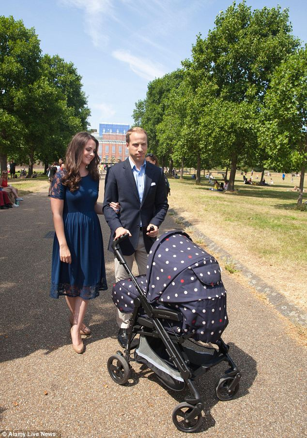 Baby's first walk: Would a Royal Highness travel in a polka dot pram?