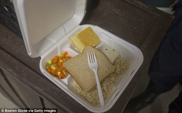 Meals: A recent lunch consisted of a burrito, bread, rice, and vegetables at the Bristol County House of Correction, where former New England Patriots player Aaron Hernandez is awaiting trial for first degree murder