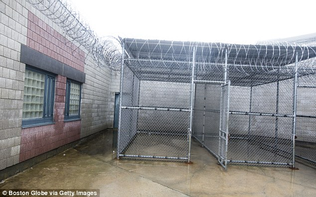Exercise cages: There are several exercise cages in the courtyard of the Bristol County House of Correction - this is where Hernandez gets to spend one hour a day outside to do pushups