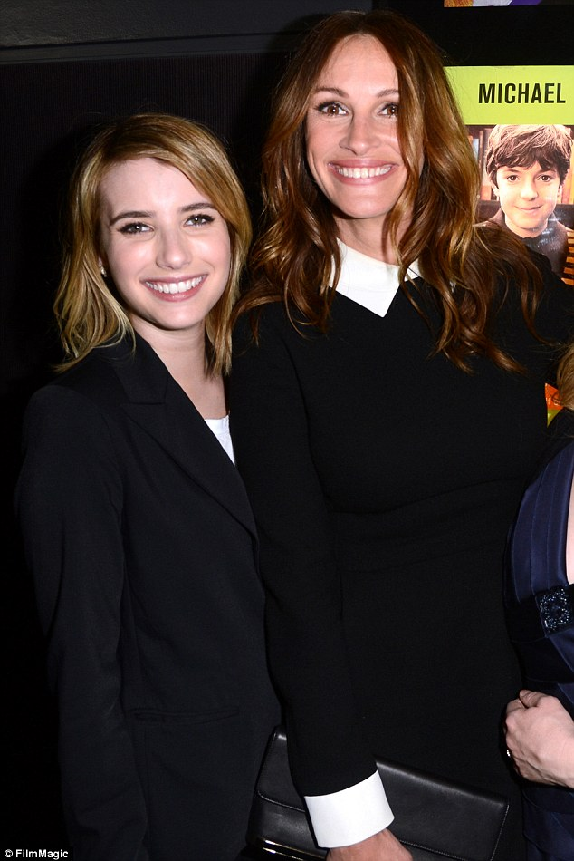 Famous family: Emma and her aunt Julia Roberts are shown together in April 2012 at a movie premiere in Los Angeles