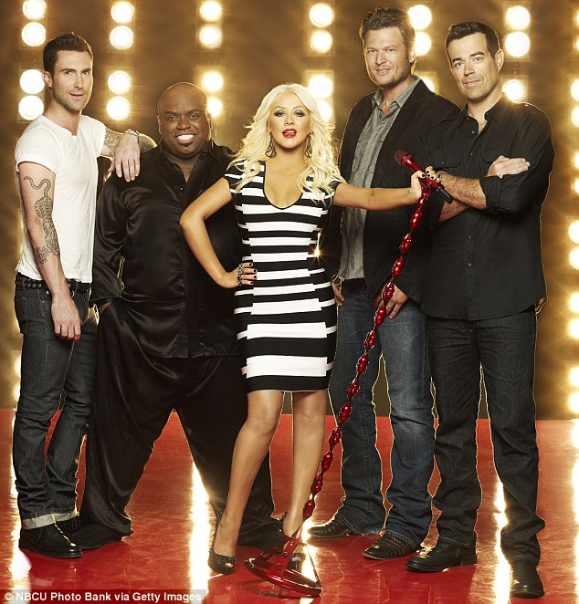 Stars of the show: Adam Levine has made a success of TV show The Voice, alongside Cee Lo Green, Christina Aguilera, Blake Shelton and Carson Daly