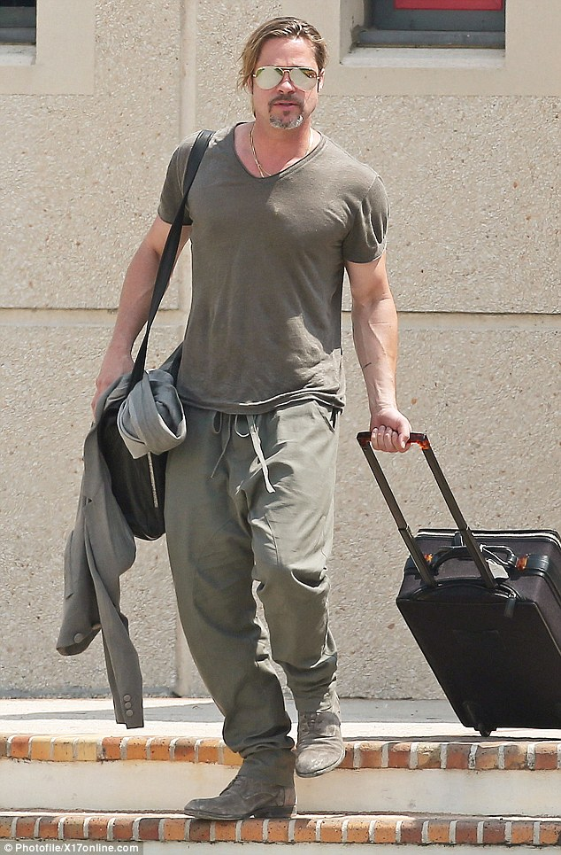 Finalising plans? Brad Pitt touched down on his own in France on Wednesday, reportedly to meet his wedding planner