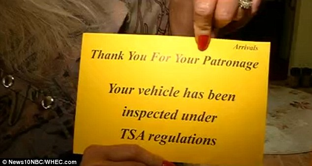 Surprise inspection: This note was left inside a woman's valet-parked car at Greater Rochester International Airport