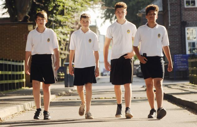 Boys wear skirts to school as shorts are not allowed