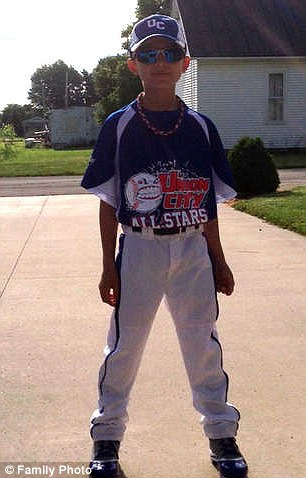Eight-year-old Dylan Williams, pictured, died of blunt force trauma after being hit on the head with a baseball