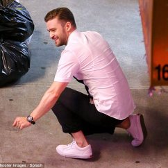 Chair Exercise Justin Timberlake Round Back Covers For Sale Shows Off His Dance Steps In Monochrome Outfit On Get Low Was Seen Bending Down The Floor A Crouched Position