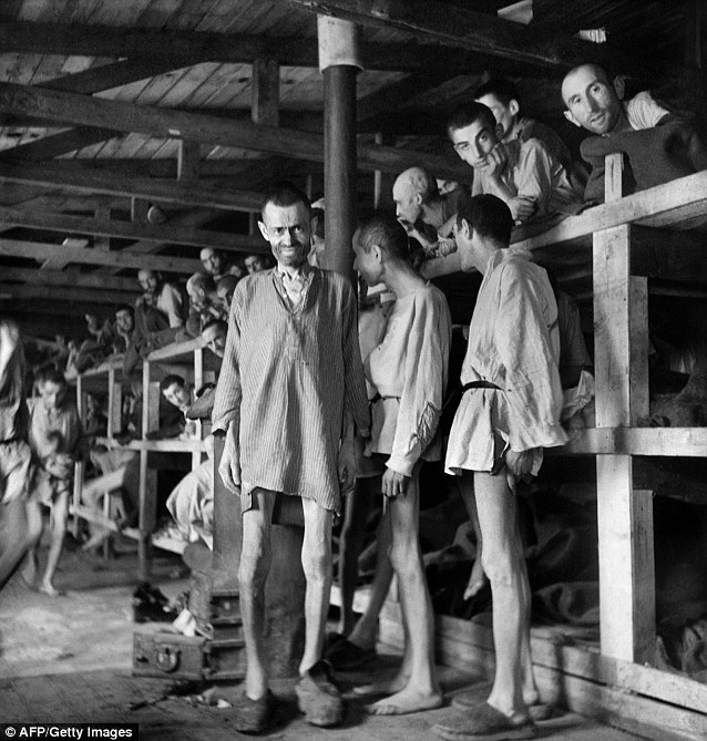Doomed: Prisoners at the Buchenwald concentration camp, one of many across Europe responsible for the near-extermination of European Jews by the Nazi regime