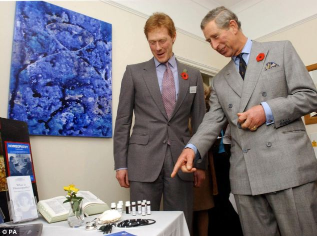 The Prince of Wales with some homeopathic remedies in Poundbury, Dorset in 2004