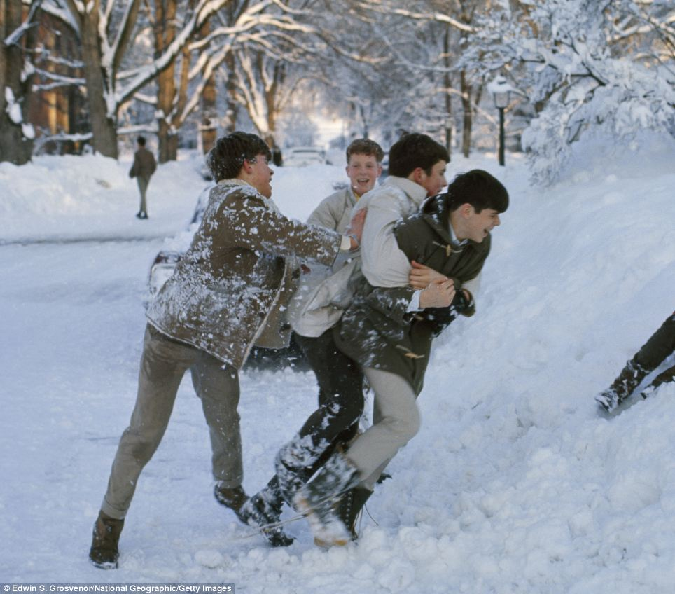 Schoolboys wrestle in snow, Deerfield, Massachusetts