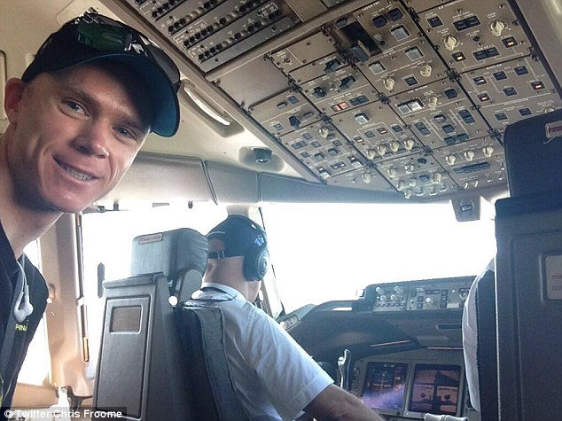 On his way: Froome took a jet rather than cycled to the final stage...
