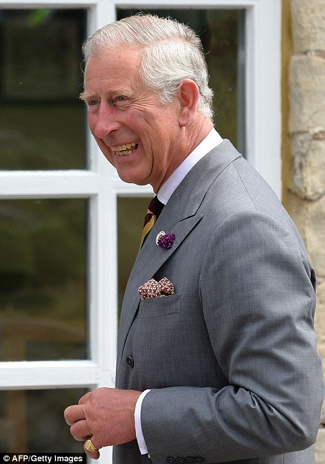 Grandfather-to-be: Prince Charles out and about in York today going ahead with his normal schedule as his son was at the Duchess' bedside in west London