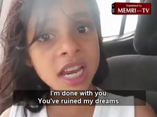 Strong: The video finishes with her telling her family: I'm done with you, you ruined my dreams'