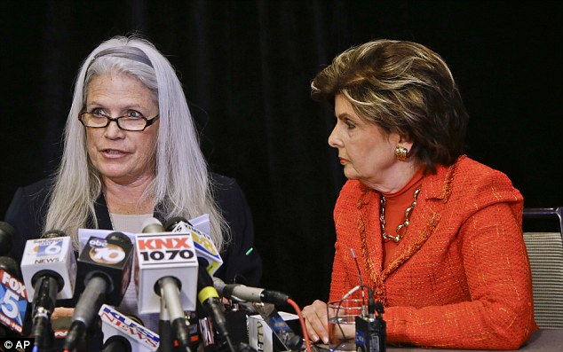 Out in the open: Jackson, left, talks about the alleged sexual misconduct she suffered at the hands of San Diego Mayor Bib Filner as her attorney Gloria Allred, right, listens