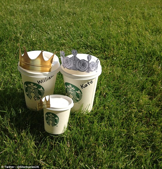 Coffee for Three Now: Starbucks joined in the celebration of the royal baby birth with a cute mock up of take-out coffee holders with Wills and Kates name on - but Baby Cambridge is yet to get a name
