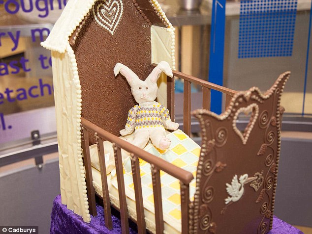 Chocolate cot: A tribute cradle which has been made by choclatiers at Cadbury to mark the royal birth yesterday