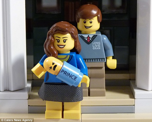 'Long live gran': The Duke and Duchess of Cambridge with their newborn baby boy immortalised in Lego