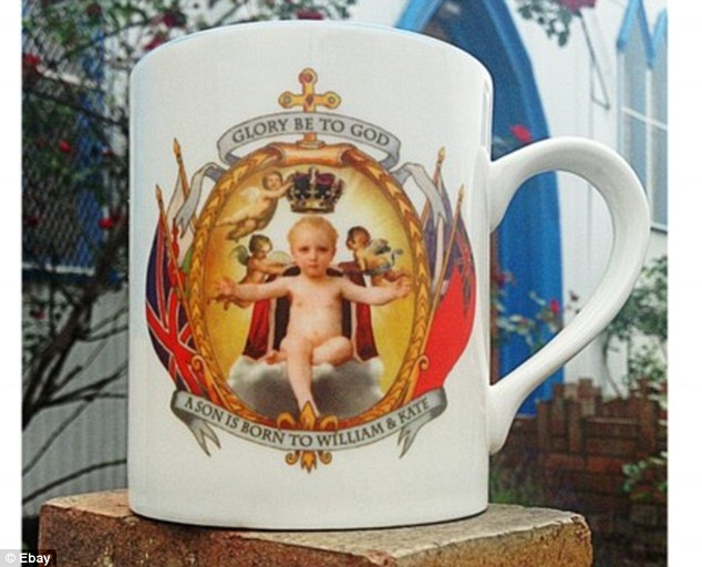 Would you drink out of this? A slightly terrifying picture of an infant king on this hastily put together mug to mark the royal birth. It is on sale on eBay