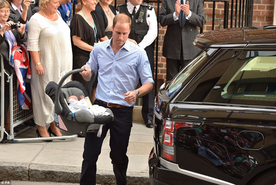 William calmly carried his new baby to the Range Rover which he drove home himself with his wife and child on board