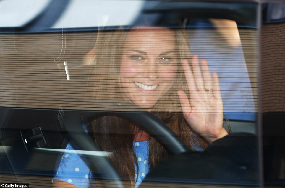 Going Home: More than 36 hours after she first arrived at the Lindo Wing, Kate is driven back to Kensington Palace by William