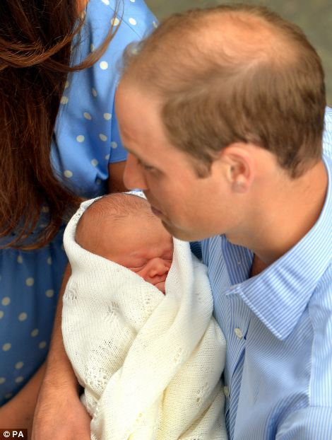 The safe hands of the Duke of Cambridge, as the royal couple and their son who was born yesterday