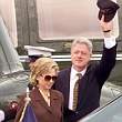 Bill Clinton (R) and First Lady Hillary Rodham Clinton (L) depart Marine One after they arrived in East Hampton, NY 31 July - 1998