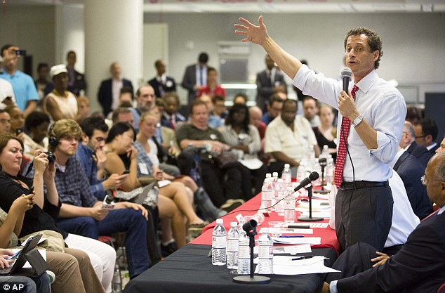 Carry on regardless: New York mayoral candidate Anthony Weiner speaks during the Gay Men's Health Crisis Mayoral Forum on HIV/AIDS in New York on Tuesday following another sexting scandal