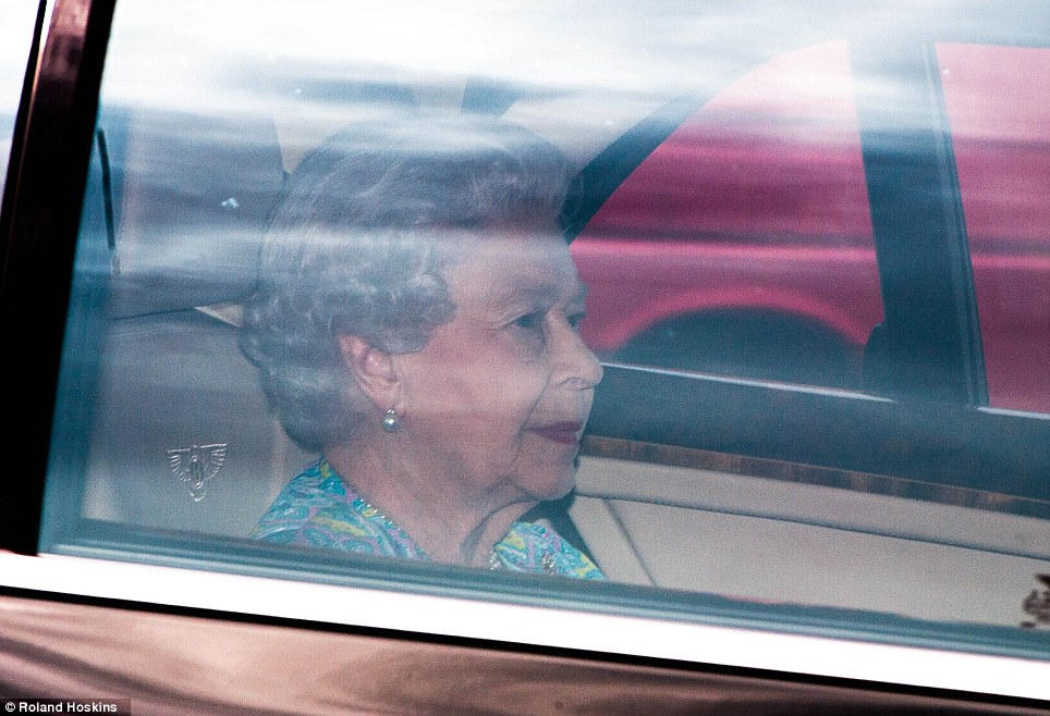 Happy day: The Queen arrives at Kensington Palace today to meet her new great-grandson for the first time and see his parents