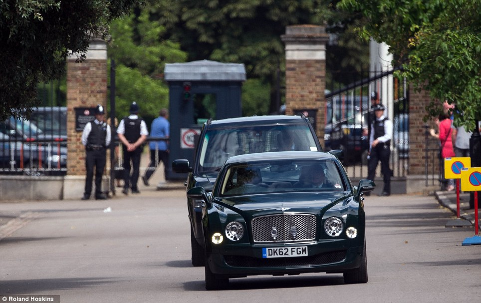 Down the drive: Her Majesty visited without the Duke of Edinburgh, who is still at Windsor Castle recuperating after an operation last month