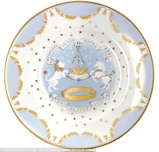 Each piece of china- like this £45 dessert plate- will be made in Stoke-on-Trent by the same potteries that produced the official range to celebrate William and Kate's wedding