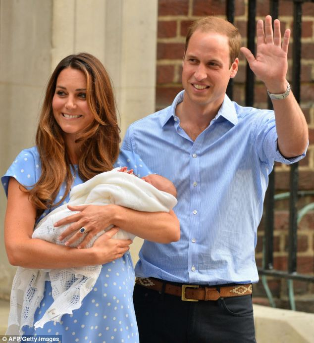 Too young for Vegas: The Duchess of Cambridge and Prince William pose with their new baby son Prince George