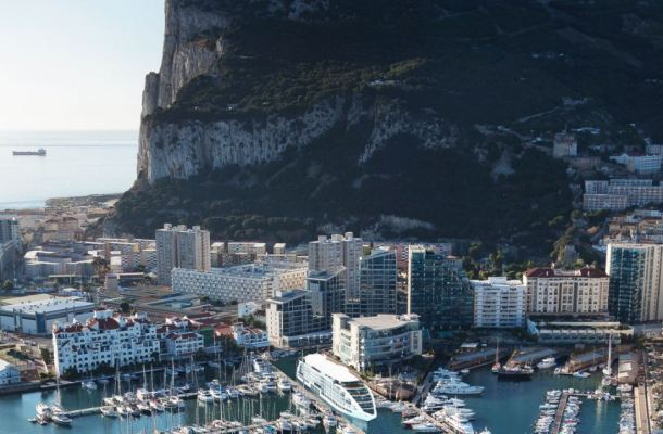 The floating hotel (pictured) is designed to be permanently moored in Gibraltar, attached by six strong hydraulic arms, each weighing eight tonnes