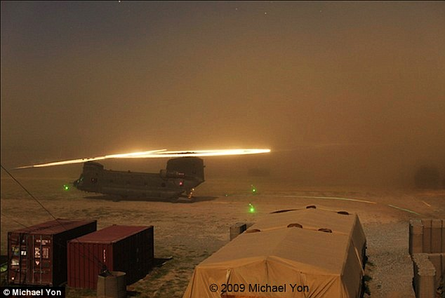 Dust: Rotors slicing through dust clouds help create the halo effect that occurs when helicopters land in the desert