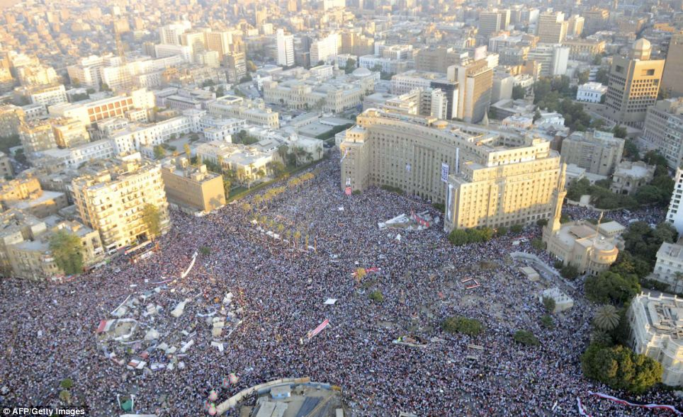 Followers: This image released by the Egyptian army of Friday evening's pro-army rally shows the strength of support for the security forces and against the ousted president Morsi