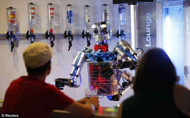 Guests at the bar can interact with Carl, who was developed and built by mechatronics engineer Ben Schaefer
