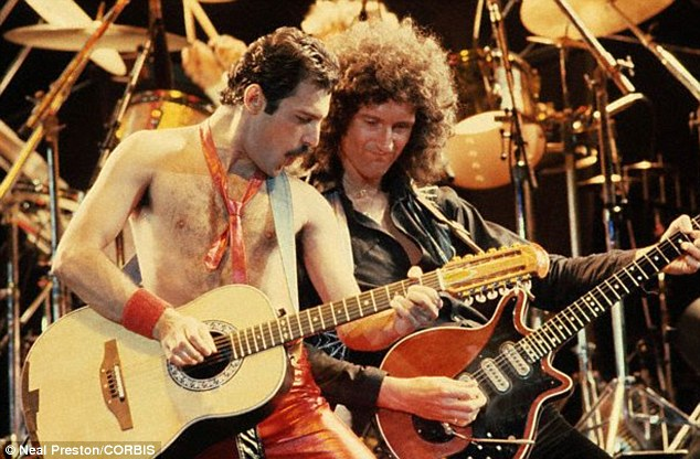 Progress: Mercury¿s former bandmates, Brian May and Roger Taylor, are working on tracks featuring the two dead superstars . May is pictured performing on state with Mercury