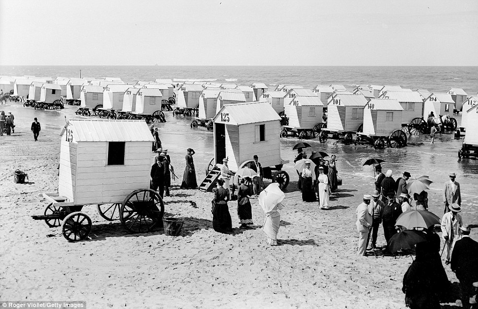 Ostend beach in Belgium in around 1900 when beach holidays began to become popular as the new railways allowed long distance travel at ease