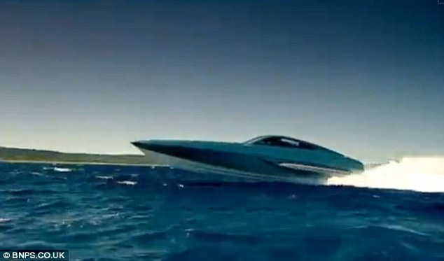 The carbon fibre and kevlar craft streaks across the sea powered by two huge engines