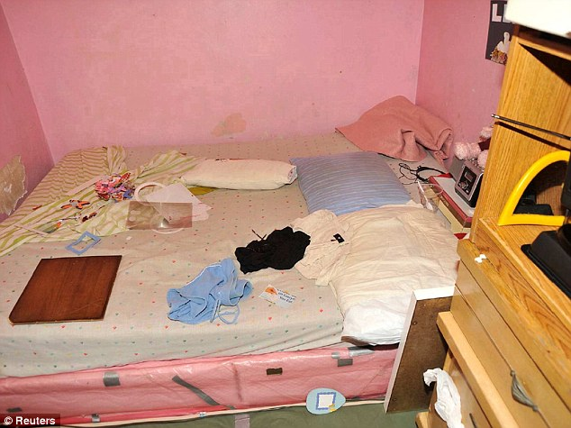 Vivid: This image of a pink mattress in a pink room cluttered with clothes was part of the evidence shown in court during Castro's sentencing