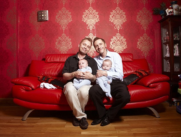 Tony and Barrie Drewitt-Barlow with their long-distance twins Dallas and Jasper. They now have five children through surrogate mothers