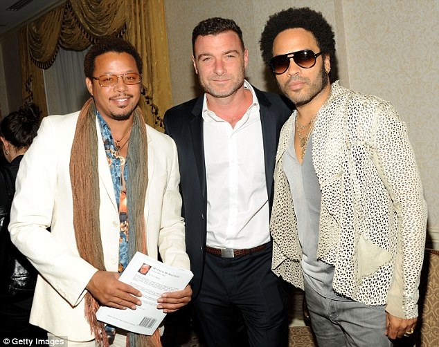 Hard at work: Terrence has been promoting his latest film The Butler, pictured here on Monday alongside costars Liev Schreiber and Lenny Kravitz