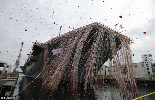 Celebration: Kapal itu diluncurkan hari ini dengan upacara besar di pelabuhan Yokohama