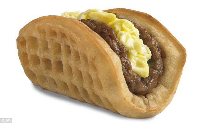 The waffle taco contains 460 calories and 30g of fat per serving but is a hit with breakfast fast food fans